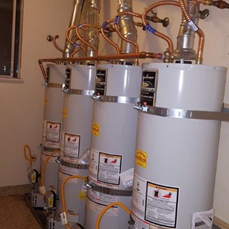 4 water heaters in a row