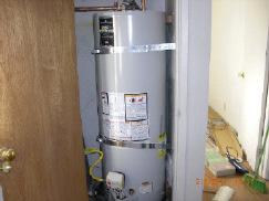 Closet water heater installation