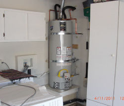 water heater installed in laundry space