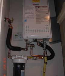 Clean tankless and water filtration system isntall