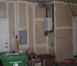 Tankless water heater in garage
