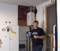Tankless water heater installation, tight quarters