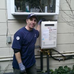 Outdoor tankless water heater installation
