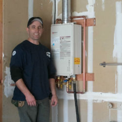 Clean indoors tankless water heater installation
