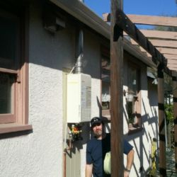 Clean outdoor tankless installation