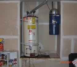 Water heater in garage
