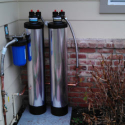 Water softener system installation outside