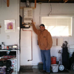High up garage tankless water heater installation