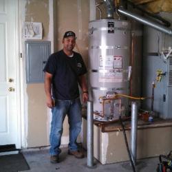 Proud garage water heater installation